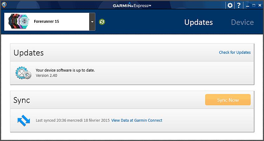 Garmin Express est démarré