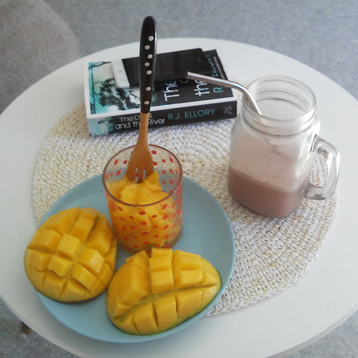 Après l'effort, le réconfort ! Mangue et super smoothie !