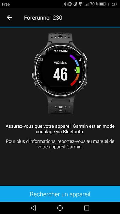 Garmin Connect - Rechercher un appareil