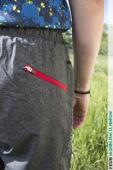 Poche arrière zippée du short oran