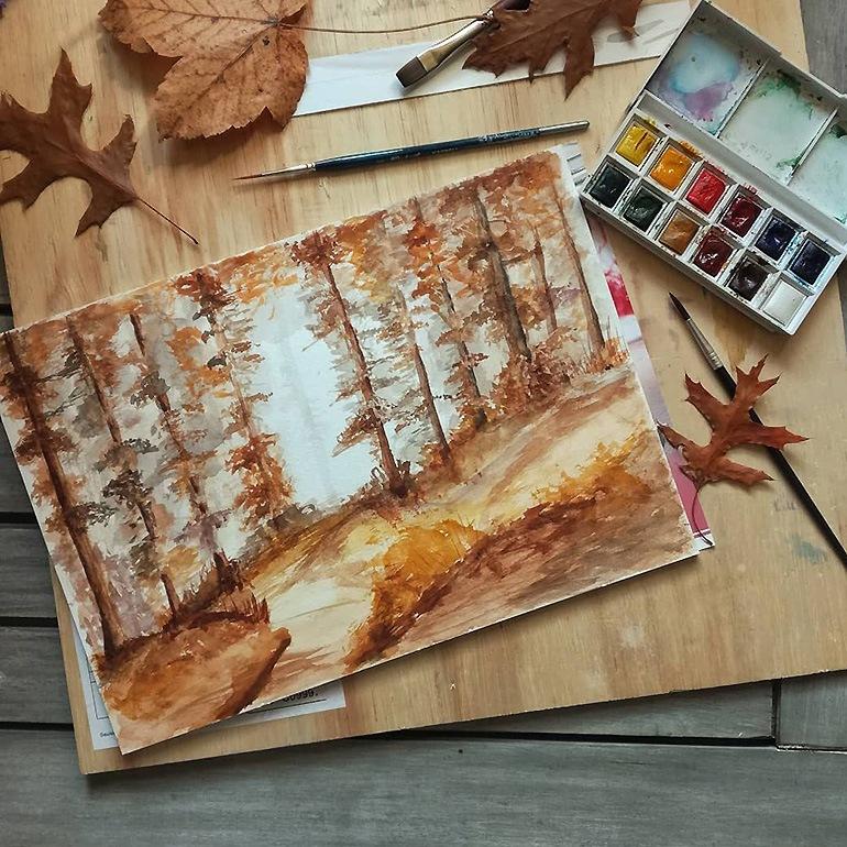 Paysage d'automne inspiré de l'artiste Katie Jobling