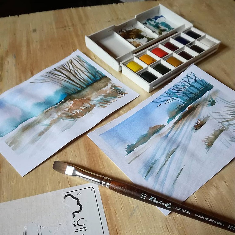 Aquarelle enduo avec Francesca inspirée de l'aquarelliste Peter Sheeler