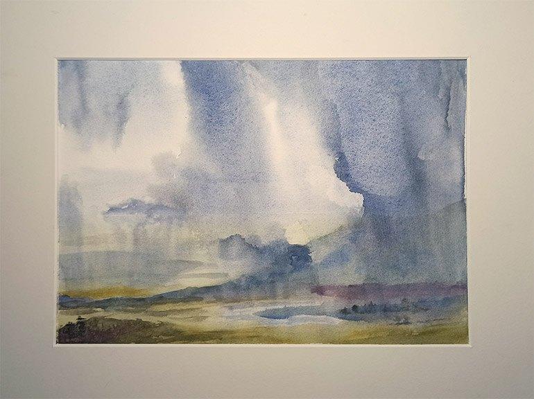 Aquarelle paysage pluvieux