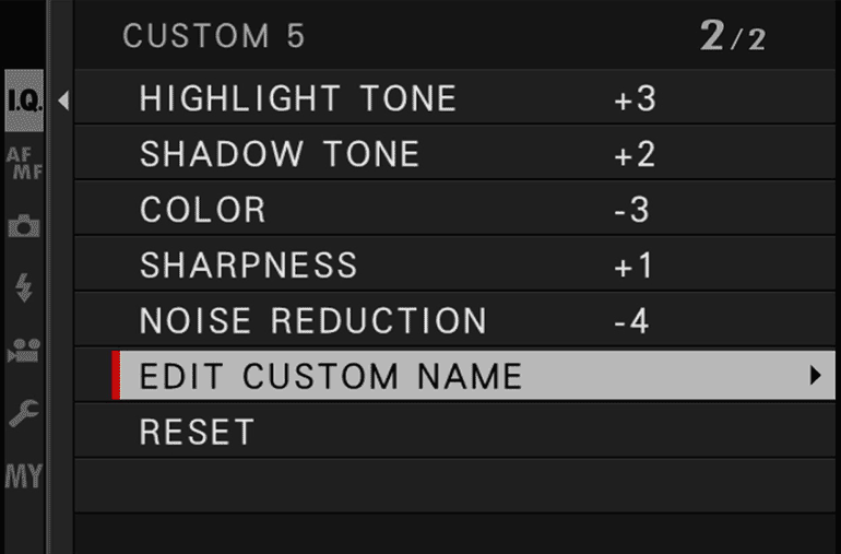 Menu IQ - Edit custom name
